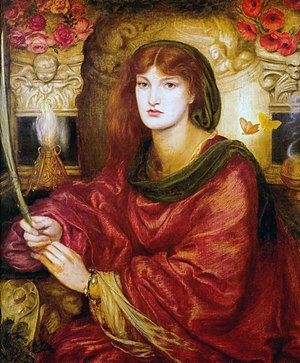 Lady Lilith - Sibylla Palmifera, 1866–70, also features Alexa Wilding as the model.  It forms a pair with Lady Lilith with Rossetti poems inscribed on each frame. Now in the Lady Lever Art Gallery.