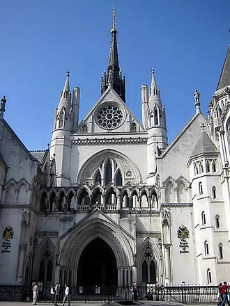 Tom Denning, Baron Denning - The Royal Courts of Justice, where Denning sat between 1944 and 1956 in the High Court and Court of Appeal and again from 1962 to 1982 as Master of the Rolls