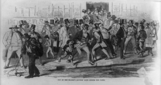 Panic - Bank run on the Seamen's Savings' Bank during the Panic of 1857.