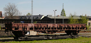 Austauschbauart - Rms Stuttgart with 8m axle base, after removal of stakes and waybill basket, finally used as a slag wagon