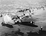 SB2C-3 of VB-18 on USS Intrepid (CV-11) during Battle of Leyte Gulf 1944.jpg