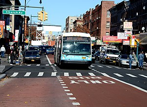 Bus lane - Select Bus Service bus lane on Nostrand Avenue in Brooklyn, New York