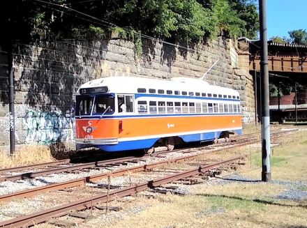 One of the PCC streetcars built in 1947 by the St. Louis Car Co. for PTC, running in 2019 at the Baltimore Streetcar Museum SEPTA PCC -2168.png