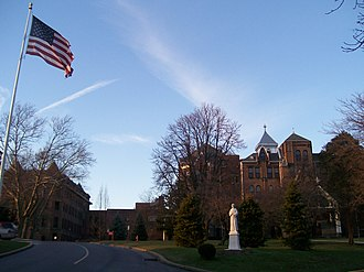 Seton Hill University - The Seton Hill University Administration Building, with a statue of Elizabeth Ann Seton.