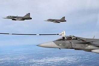 Saab JAS 39 Gripen - Saab Gripen of the Swedish Air Force undergoing inflight refuelling.