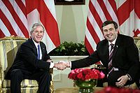 Mikheil Saakashvili (right) with George W. Bush