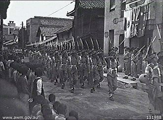 Royal Australian Regiment - Troops from the 66th Battalion march through Saijo, Japan in 1946