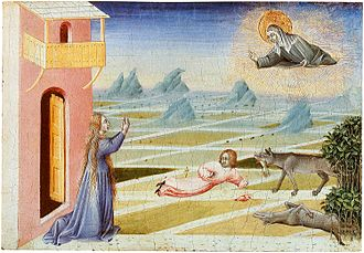 Clare of Assisi - Saint Clare intervenes to save a child from a wolf, in this panel by Giovanni di Paolo, 1455.