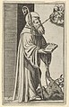 Saint Bernard standing holding an open book, a chained dragon at the lower right, from the series 'Piccoli Santi' (Small Saints) MET DP853510.jpg