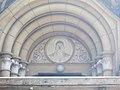 Saint Stephen Church, Arch portal relief, 2018 Karcag.jpg