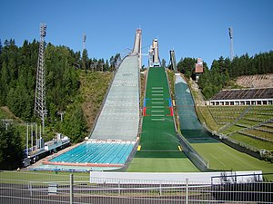 Salpausselkä (ski jump) - The ski jumps in summer, the outlet area of the large ski slope is used as a swimming pool