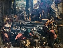 San Trovaso (Venice) interior - Joachim expelled from the temple by Domenico Tintoretto.jpg