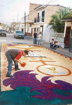 Culture of Honduras - Colored sawdust makes a Paresh design during Holy Week in Comayagua.