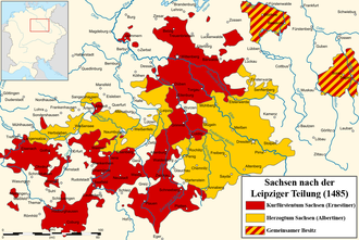Treaty of Leipzig - Wettin lands upon Leipzig partition: electoral lands of Ernest in red, ducal lands of Albert III in yellow. Shared lands are striped.