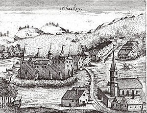 Schaaken Castle - 1576 engraving of Castle Schaaken by Caspar Hennenberger