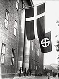 Headquarters of the Schalburgkorps, a Danish SS unit, after 1943. The occupied building is the lodge of the Danish Order of Freemasons located on Blegdamsvej, Copenhagen.