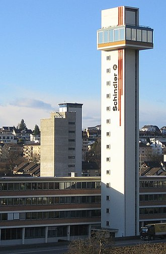 Schindler Group - Schindler Test Tower in Ebikon with old logo, Canton of Lucerne, Switzerland