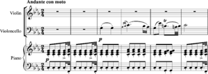 Instrumentation (music) - Schubert, Trio in E flat, second movement, bars 1-6.
