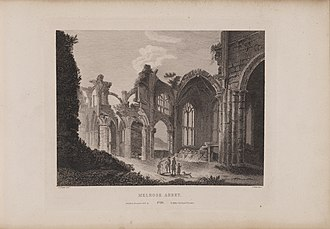 Melrose Abbey - Image: Scotia Depicta Melrose Abbey Plate
