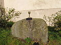 Sculpture of evangelical bowl and book near evangelical church in Horní Vilémovice, Třebíč District.JPG