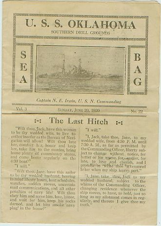 USS Oklahoma (BB-37) - Ship newsletter, the Sea Bag, June 20, 1920