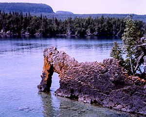 Lake Superior National Marine Conservation Area - Sea Lion Arch and Sleeping Giant, Lake Superior shoreline, Ontario