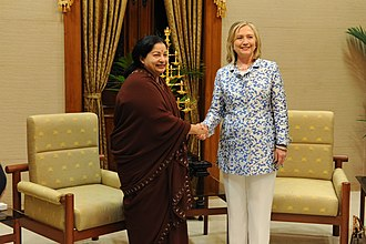Jayalalithaa - Jayalalithaa with U.S. Secretary of State Hillary Clinton in July 2011