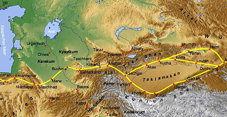 'The ancient silk road showing the general location of the pass'