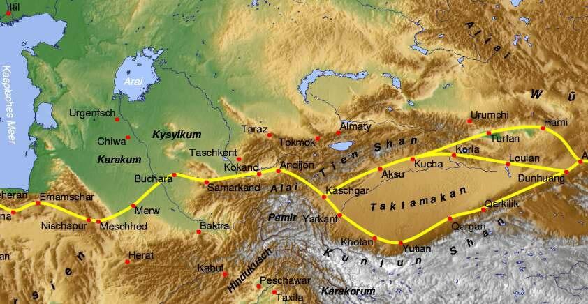 Seidenstrasse GMT Ausschnitt Zentralasien