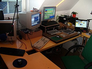 A one-man studio of an internet radio station