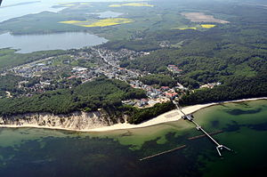 Sellin - Spa town of Sellin from the air - with the Sellin Pier stretching into the Baltic Sea