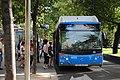 Servicio especial de autobuses de la EMT por las obras del túnel de Recoletos 01.jpg