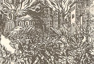 Skanderbeg - Woodcut depicting an engagement between Albanian and Ottoman forces.