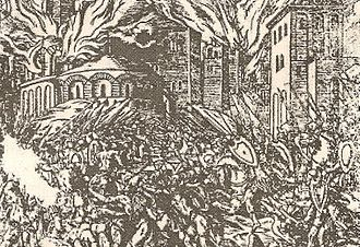 Skanderbeg - Woodcut depicting an engagement between Albanian and Ottoman forces
