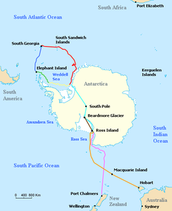 Outline of Antarctica coast, with different lines indicating the various journeys made by ships and land parties during the Imperial Trans-Antarctic Expedition