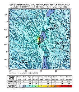2015 South Kivu earthquake - Image: Shakemap Intensity of the 2015 South Kivu Earthquake