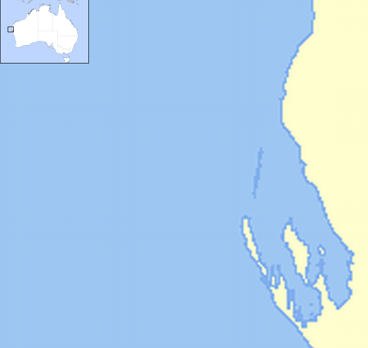 Map of the Shark Bay region of Western Australia. There are seven red dots, indicating the locations where lifeboats were recovered or made landfall. A cyan dot marking the location of Carnarvon and a steel dot marking the claimed battle site are included for reference