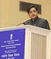 Shashi Tharoor addressing at the National Education Day 2012 function to commemorate the birth anniversary of Maulana Abul Kalam Azad, in New Delhi on November 11, 2012.jpg