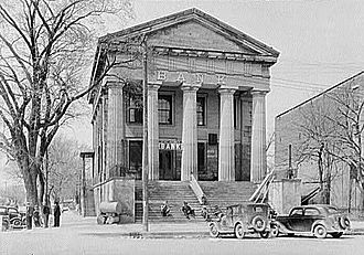 Southern Illinois - The Bank of Illinois in Shawneetown, built in 1839–1841, shown in 1937