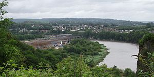 Chepstow - View towards the site of the former National Shipyard No.1, in the area covered by the factory buildings and overgrown slipways in the centre of the photograph