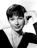 Black-an-white publicity photo o Shirley MacLaine promotin the film The Apartment.