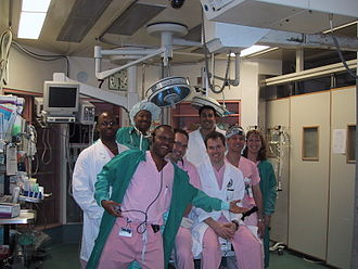 Scrubs (clothing) - American hospital workers in Baltimore, Maryland wearing scrubs in March 2001.