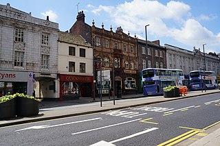 The Headrow street in Leeds, United Kingdom