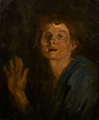 Clara Siewert - Self-portrait with Raised Hand (c.1895)