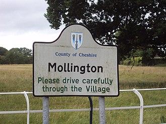Mollington, Cheshire - Image: Sign, Mollington, Cheshire DSC06892