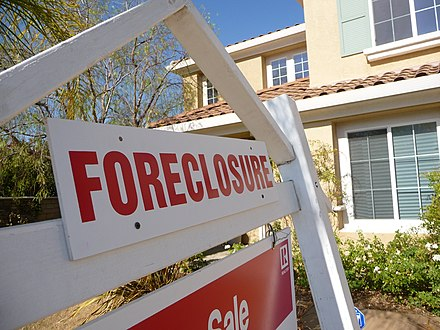 The subprime mortgage crisis was the source of many liability insurance losses Sign of the Times-Foreclosure.jpg