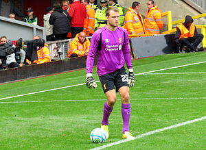 Simon Mignolet - Mignolet playing for Liverpool in 2014.