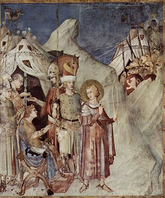 Martin of Tours - St Martin leaves the life of chivalry and renounces the army (fresco by Simone Martini)