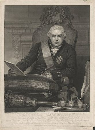 Joseph Banks - This 1812 print depicts Banks as president of the Royal Society, wearing the insignia of the Order of the Bath