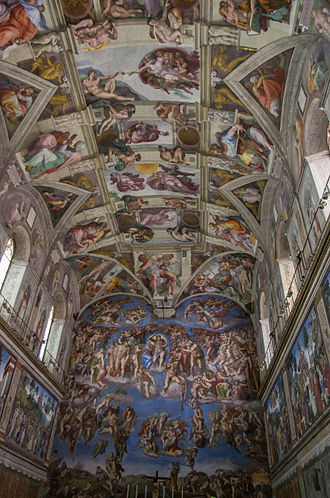 Sistine Chapel ceiling - The interior of the Sistine Chapel showing the ceiling in relation to the other frescoes.